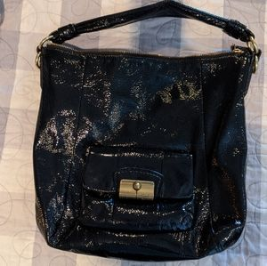 Patent leather coach bucket bag